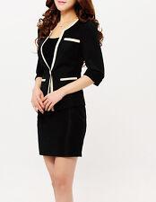 Elegante Tailleur completo donna nero albicocca giacca manica lunga, gonna 7040