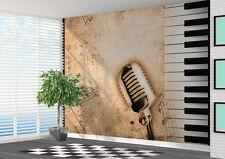 Micrófono De Piano Notas Musicales Wallpaper Mural Arte Música Foto (11007628)