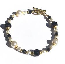 Bracelet Onyx - Perles Or - Pochette cadeau - Bijoux inspiration haute couture -