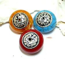 Mila Tibet Gebetsperle Metall, silber & Resin/ flach oval ca. 27 x 18 mm 1x