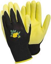 Tegera Ladies Womens Latex Waterproof Palm Gardening Work Gloves Yellow / Black
