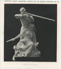 ANTIQUE HONOR SOLDIER RIFLE WOMAN SORROWS OF WAR SCULPTURE MINIATURE ART PRINT