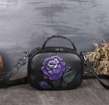 New Women Genuine Cow Leather Shoulder Bag Flower Embossed Handbag Purse XS