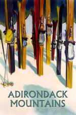 SKI Adirondack Mountains New York Skiing Vintage Poster Repro FREE S/H