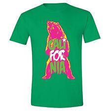 California Republic State T-Shirt Summer Flag Bear West Side Cali Tshirt Green
