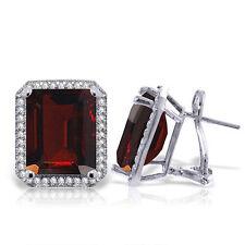 Genuine Garnets Emerald Cut Gems & Diamonds French Clip Earrings 14K. Solid Gold