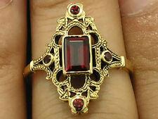 R301 Genuine 9K, 10K, 14K or 18K Solid Gold Natural Garnet Ornate Ring in yr siz
