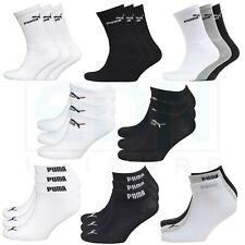 Puma Socks 3 Pairs Mens Womens Crew Ankle Liner Cotton Sports Socks Size UK 2-11
