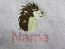 Hérisson design brodé sur serviettes, bain Robes avec nom personnalisable