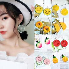 Women Charm Lemon Orange Fruit Acrylic Ear Stud Earrings Pendant Dangle Jewelry