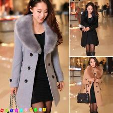 2018 Women's Winter Coat Long Wool Jacket Fur Collar Slim Outwear Trench coat