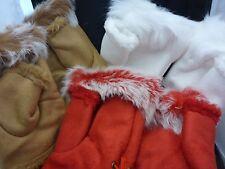 Women's Girls Fingerless Gloves Warm Suede Rabbit Fur Trim Lace-up Winter