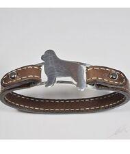 Bracciale in argento con sagoma di cane razza Terranova e cinturino in pelle