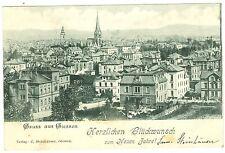 """Giessen, Gesamtansicht mit Eindruck """"Herzl. Glückwunsch u. neuen Jahr"""", 1902"""