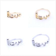 """Carino dorato / color argento """"love"""" anello scelte multiple"""