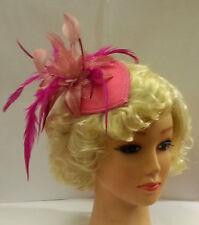 Vintage 40s 50s Hat Hotpink Teardrop Hat Feather fascinator Ascot wedding Hat