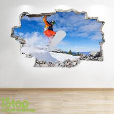 Snowboard neige autocollant mural 3D look-garçons enfants chambre à coucher sport extrême decal Z136