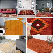 Bright Colour Warm Terracotta Rust Orange Large Small Rugs Cheap Trellis Rug