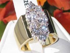 1879 Brillante Taglio Rotondo Diamante simulato piuttosto ANELLO BASE IN ACCIAIO Cluster