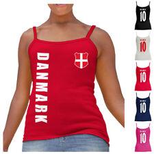 Dänemark Danmark WM 2018 Damen Spaghetti T-Shirt Top Trikot Name Nummer Fussbal
