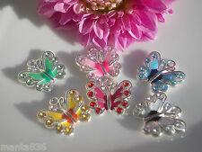 Anhänger Schmetterling versilbert Emaille Strass Butterfly Farbenmix Basteln