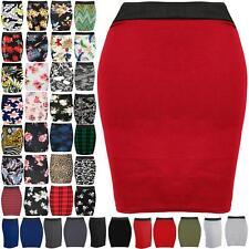 Womens Ladies Dogtooth Print PVC PU Stretchy Bodycon Short Mini Skirt Plus Size