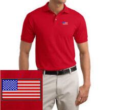 """USA Flag EMBROIDERED Red Polo Shirt """"American Flag"""""""