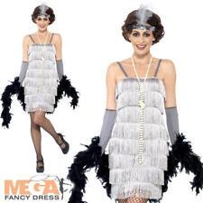 Silver Flapper Girl Ladies Fancy Dress 1920s 20s Charleston Womens Adult Costume