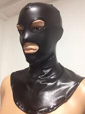 Black Zentai metallic killer mask/hood with BLACK trim around eyes and mouth