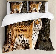 Tiger Duvet Cover Set with Pillow Shams Alert Angry Royal Feline Print