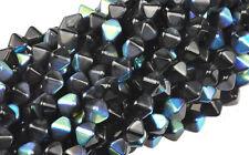 50 BLACK SEA BICONE CZECH GLASS BEADS 6MM