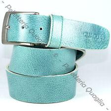 Cintura Pelle Verde Acqua Cuoio Uomo Donna Artigianale Made In Italy 4,0 cm c0