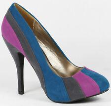 Charcoal Gray Turquoise Blue Purple Faux Suede High Stiletto Heel Platform Pump