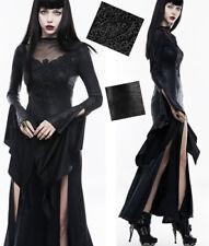 Robe longue cuir gothique punk lolita fendue broderie volants soirée PunkRave