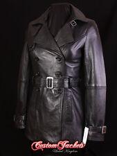 Ladies 'PARIS' Black Real Lambskin Leather TRENCH COAT Belted Jacket Stylish Mac