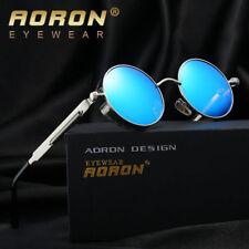 Herren Vintage Steampunk Sonnenbrille Polarisiert Retro Rund Verspiegelt Brillen
