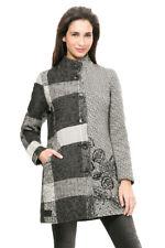 Desigual Warm Wool Mix Grey Abstract Check Floral Ibiza Coat 36-46 UK8-18 RP?169
