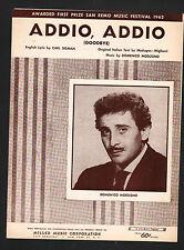 Addio Addio '62 Domenico Modugno Wrote Sang Volare Ciao Ciao Bambina Sheet Music