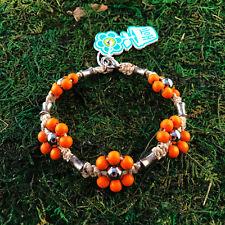 HOTI Hemp Handmade Natural Orange Flower Wood Beaded Anklet Ankle Bracelet NWT