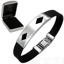 Personalised Stainless Steel Diamond Design Identity Bracelet Gift  Engraved