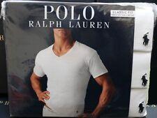 Polo Ralph Lauren Classic Fit 3 Pack Cotton V Neck T-Shirt White S, M, L, XL,2XL