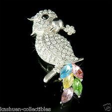 w Swarovski Crystal PARROT Bird psittacines Macaw COCKATIEL Pet Pin Brooch Xmas