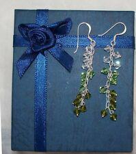 NEW 925 green & clear crystal dangles earrings,drops,sterling silver,2.4 gr