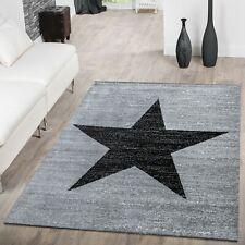 Modern Rug Carpet Stars Design Rugs Kids Bedroom Small X Large Mats Grey Black