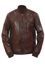 Infinity New Mens Retro Brown Nappa Leather Bomber Slim Fit Varsity Jacket