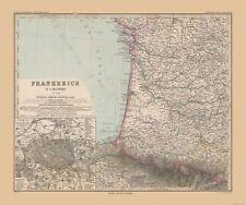 Old World Map - Southwestern France - Stielers  1885 - 27.52 x 23