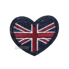 UK United Kingdom Union Jack Heart Shape Iron on Patch National Flag Patch