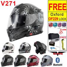 VCAN V271 Blinc Bluetooth 5 Modular Flip Up Motorbike Helmet ACU Alarm Disc Lock