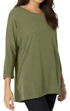 Woman Within Plus 4X, 26W/28W & 5X, 30W/32W Linen Blend 3/4 sleeve Top Tunic