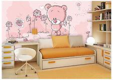 3D Pink Teddy Bear 7 Wall Paper Murals Wall Print Wall Wallpaper Mural AU Summer